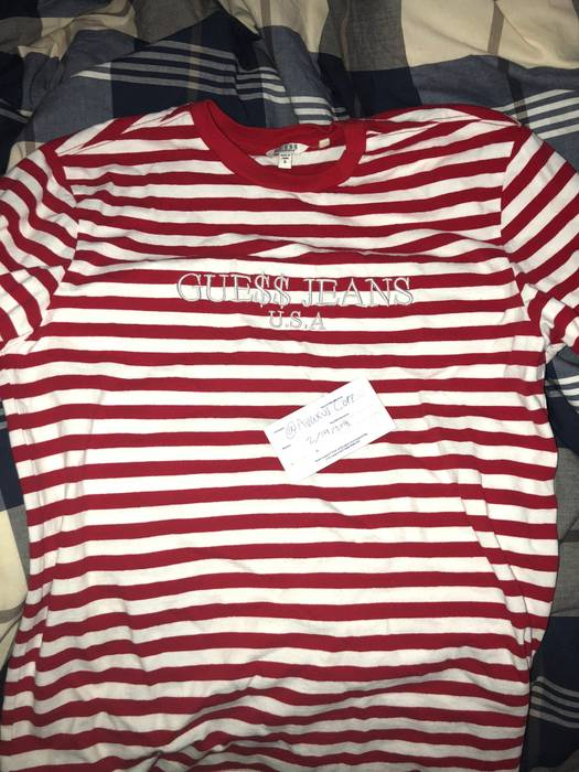 ac28daafc5256e Guess GUESS x ASAP ROCKY RED   WHITE STRIPED Size s - Short Sleeve T ...