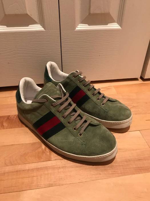 8dde13f8b10 Gucci Green Suede Croc Embossed Sneakers Size 9.5 - Low-Top Sneakers ...