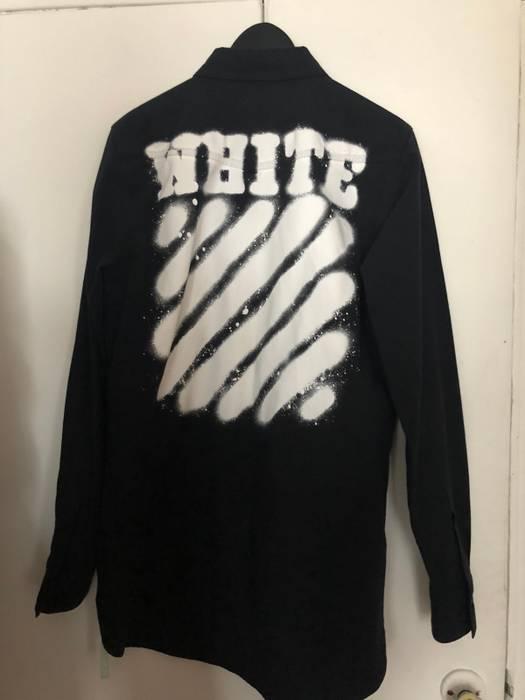 54d8757e1e89 Off-White Off White Black Cotton Graffiti Printed Button Down Size ...