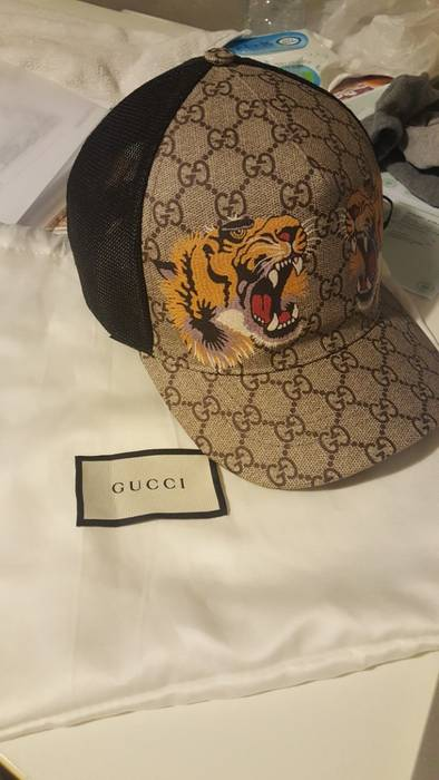 Gucci Tiger Print GG Supreme Baseball Hat Size one size - Hats for ... 55e9905fd62