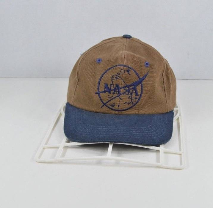 177391ead7a Vintage. Vintage 90s NASA Spell Out Space Moon Graphic Stretch Fit Hat Cap  Brown Cotton. Size  ONE SIZE