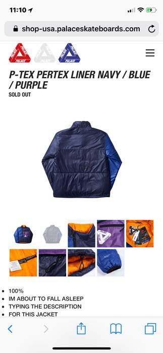 6b0e8e86121b Palace P-TEX PERTEX LINER NAVY BLUE PURPLE JACKET Size m - Light ...