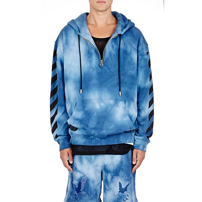 Off-White Blue Men s Tie-dyed Hoodie Size xl - for Sale - Grailed 9b0fa96b1