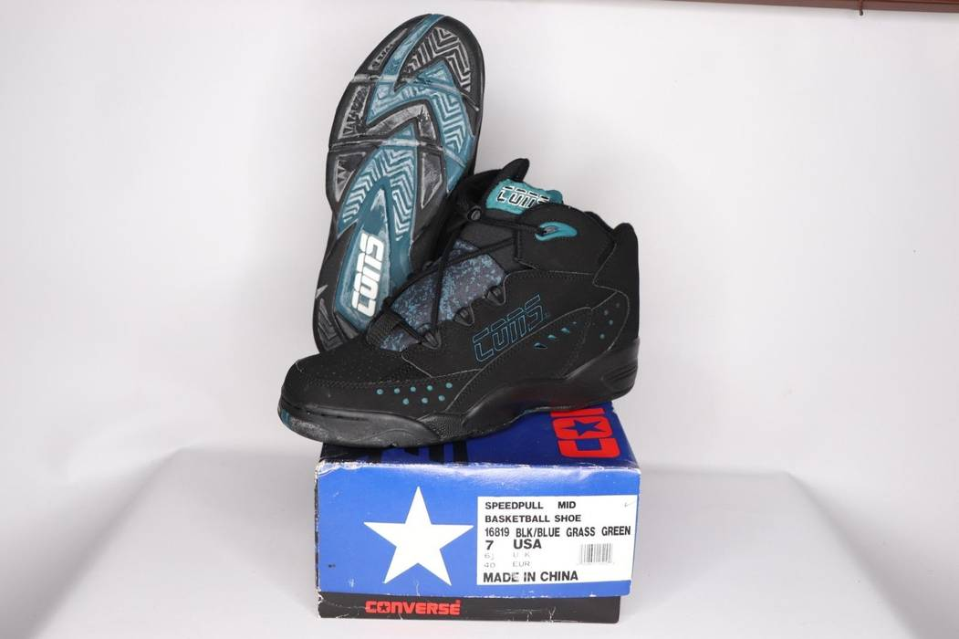 61001d81e6f Vintage Vintage 90s New Converse Mens 7 Speedpull Mid Cons Basketball Shoes  Black Blue Size US