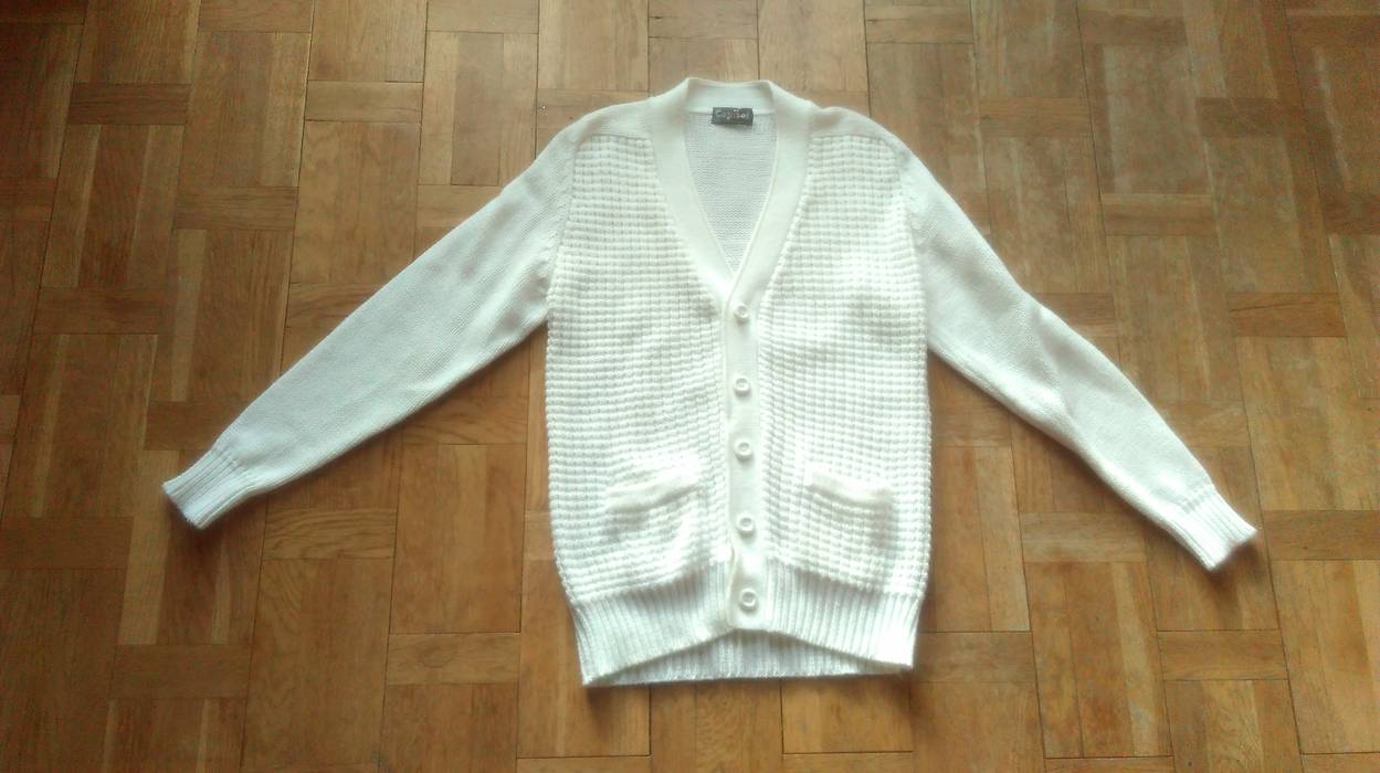 ae2b6b6331 Vintage 80s Raglan Cardigan With Pockets Size Large White Sweater Chunky  Knitwear V-neck Knit