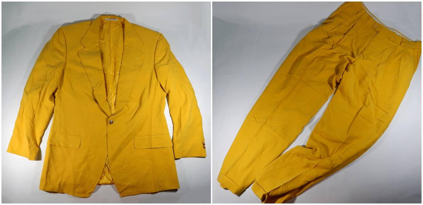 e37d886289f2 Vintage Vintage Versace Classic V2 Bright Suit Blazer + Trousers 100% Silk  Size 50R