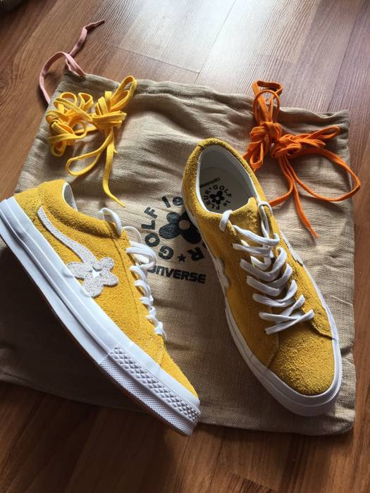 dc677d5118e1d1 Converse Golf Le Fleur One Star Flower Boy Yellow Suede Second Drop Size US  10.5
