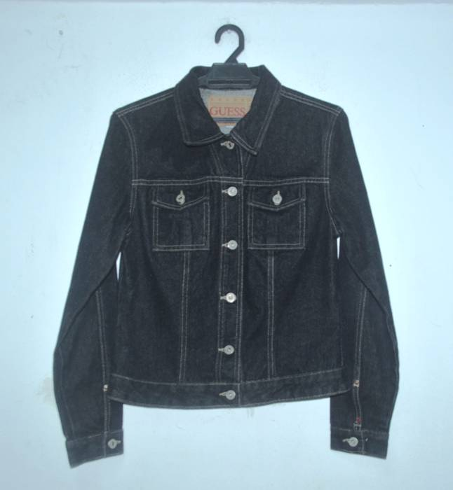 Vintage Vintage Deadstock 90 S Guess Denim Jacket Black Colour Size
