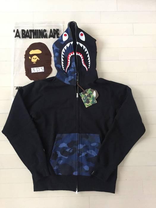 e099fdba62b6 Bape BAPE Navy Camo Black Shark Hoodie Size xl - Sweatshirts ...