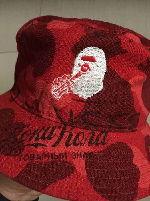 Bape Bathing Ape x Coca-Cola Red Bucket Hat Camo Large Size 26 ... 1e12b9debaf