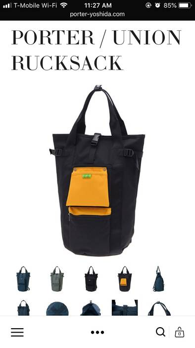 ec2a1ff559 Porter Union Rucksack Black Yellow Green Water Resistant Backpack Size ONE  SIZE