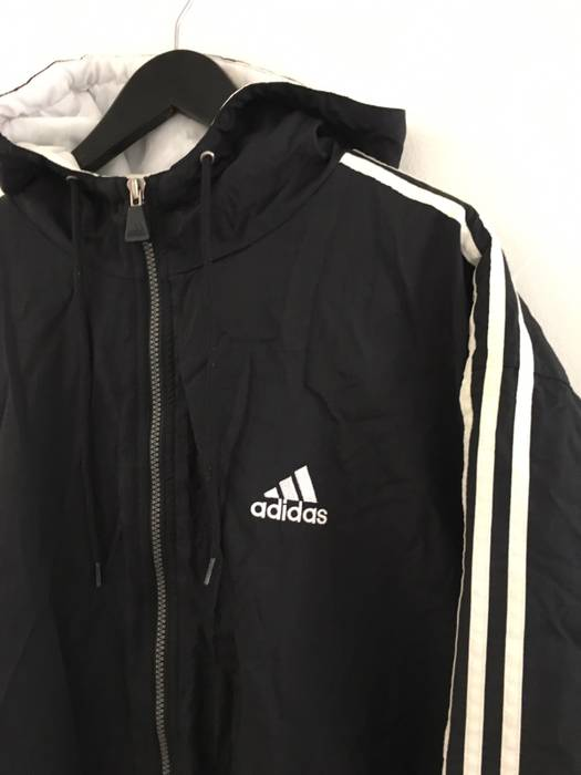 Adidas Puffy Vintage Black Hooded Jacket White Full Zip Embroidered Logo 90s  Size US L   dcb55eaaef8d