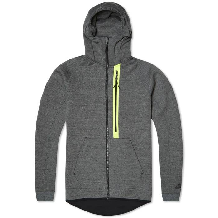 sale retailer 56ee7 23c6b Nike. Tech Fleece Hero Hoody - Tumbled Grey Volt