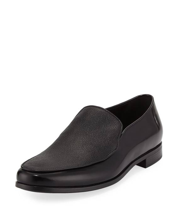 d5e220d4986 Giorgio Armani. Giorgio Armani Men Black Saffiano Leather Venetian Loafers  ...