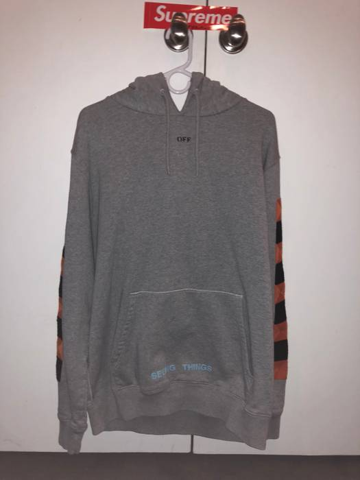 Off White Off White Seeing Things Checker Hoodie Grey Size L
