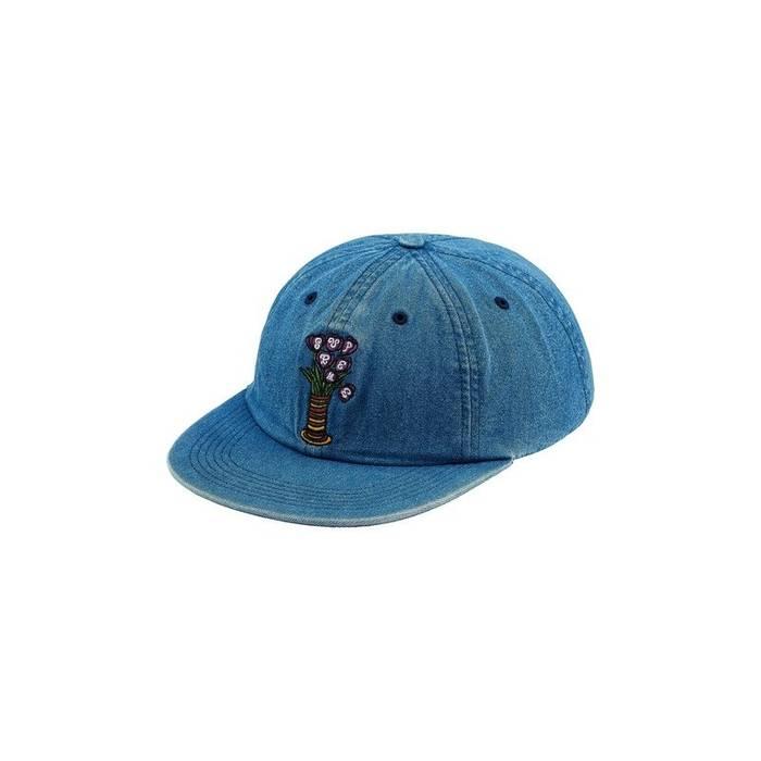 Supreme New Supreme New York Flowers 6 Panel Denim Jean Snapback Hat Cap  Blue Cotton Size 0cae5beae59