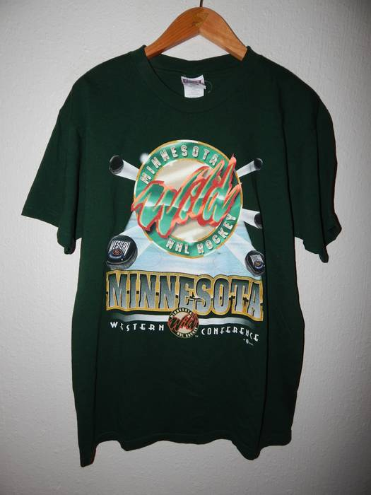 Vintage VTG 90's Minnesota Wild NHL T-shirt Size US L / EU 52-