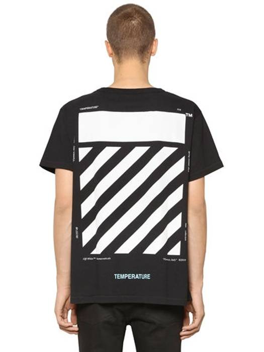 ebda022ae13847 Off-White Off White Temperature Striped Tee Size l - Short Sleeve T ...