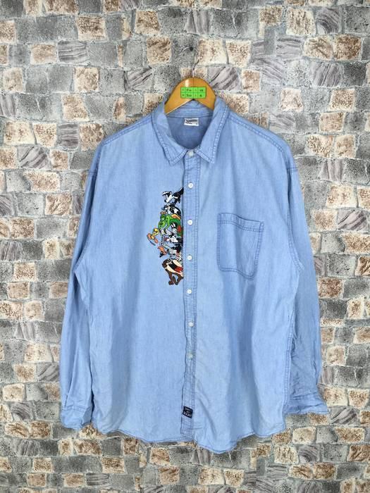 404d73877f06aa Vintage. LOONEY TUNES Cartoon Denim Shirt Large Vintage 90s Warner Bros  Cartoon Space Jam ...