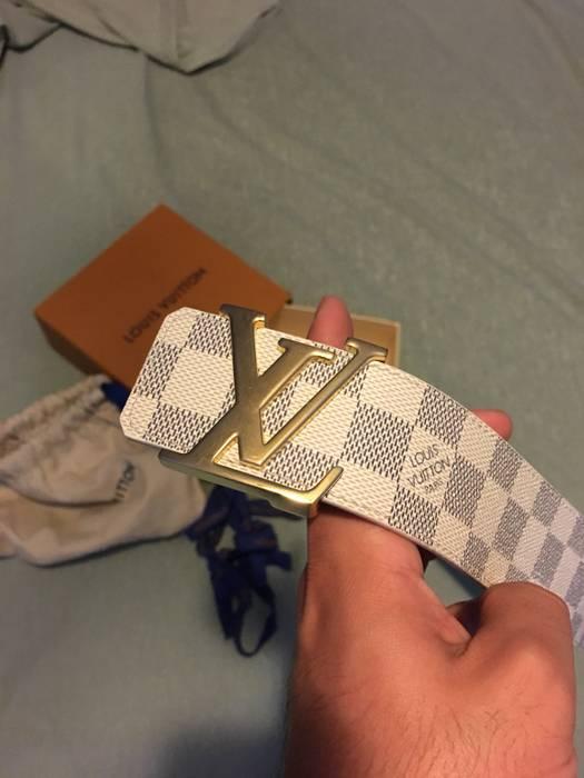 d19cee15a50f7 Louis Vuitton Cream Damier Azur LV Belt Size 34 - Belts for Sale ...
