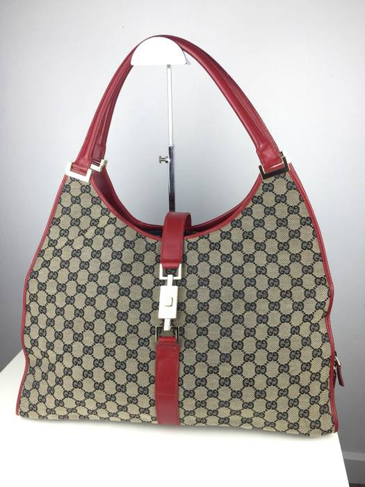 Gucci. TRULLY RARE‼️Authentic GUCCI GG Jackie Monogram Canvas Red Leather  Large Size Shoulder Bag 2c1d798a89096