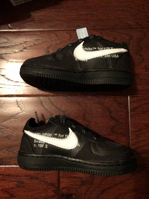 2a132d53dcc8 Nike NIKE x OFF WHITE AIR FORCE 1 ONE LOW BLACK THE TEN VIRGIL ABLOH TODDLER