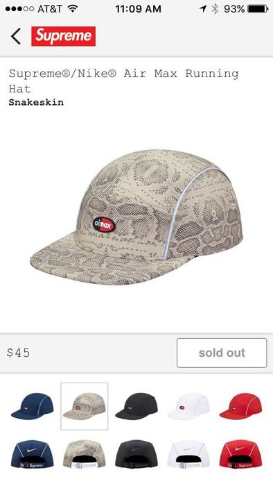 Supreme Supreme X Nike Snakeskin Cap Running Hat Size one size ... ea25976b2