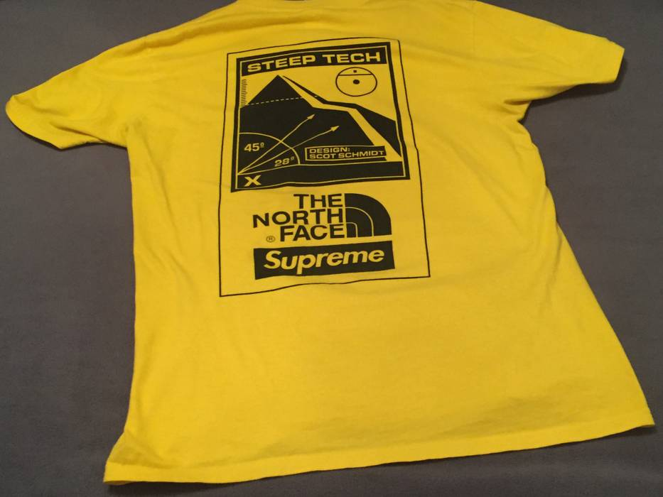 Supreme Tnf North Face Steep Tech T Shirt Yellow M Medium Box Logo Size