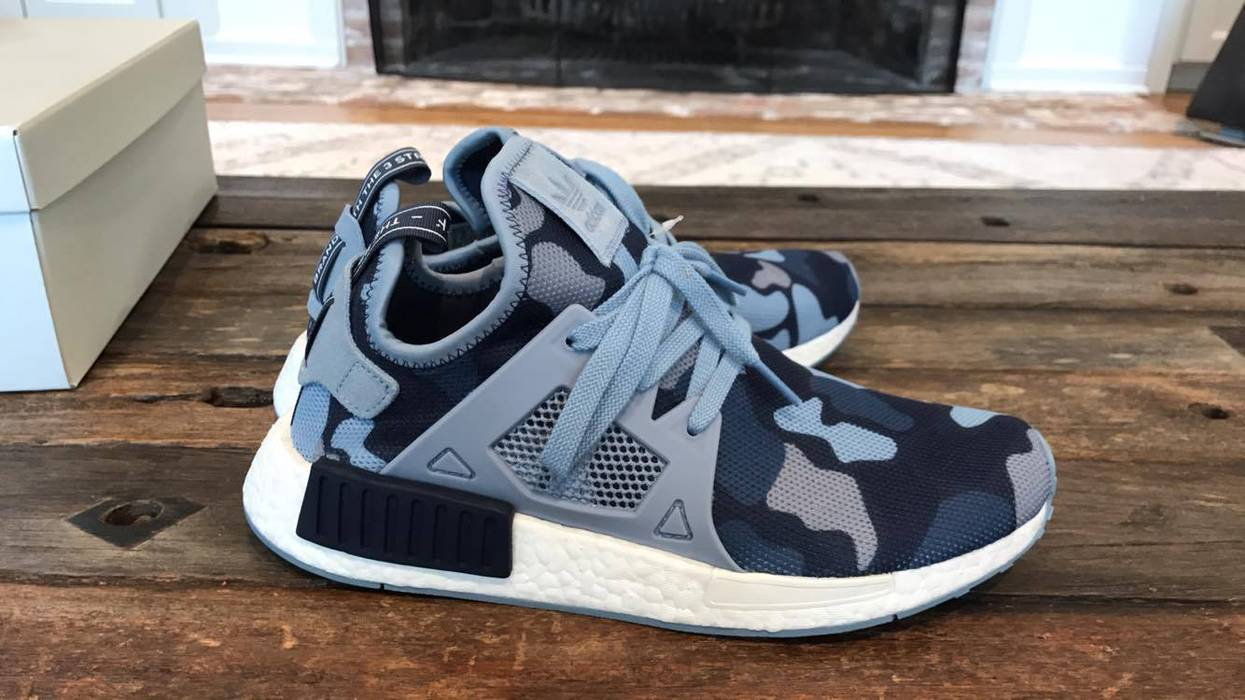 1c34919ec71a6 Adidas Adudas NMD XR1 W Blue Camo BA7754 Women Mesh Midnight Grey Noble Ink  Size US