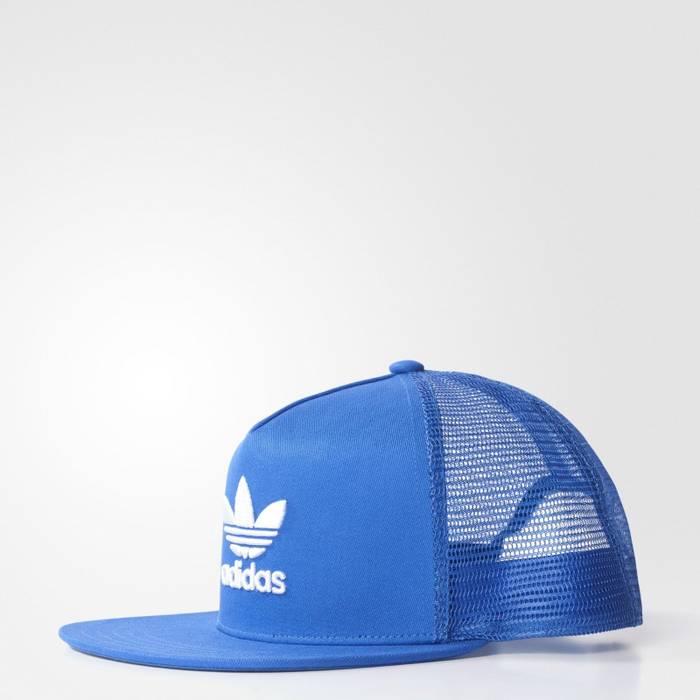 Adidas Adidas Originals Trefoil Cap Trucker Hat Blue White BK7303 ... 069f22c303bd