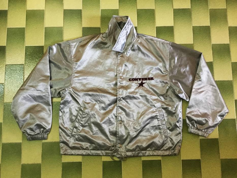 f12dbb73e723 Vintage vintage Converse snap buttons windbreaker Jacket Nice Silver colour  Size US L   EU 52