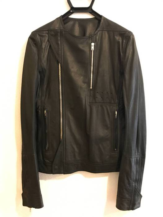 Rick Owens Men S Black Side Zip Soft Leather Jacket Sz 46 Size S