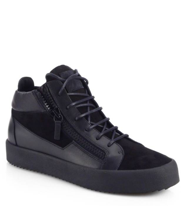 b24aa85ce630f3 Giuseppe Zanotti.  WORN ONCE  Black Suede   Leather Giuseppe Zanotti Double-Zip  Men Sneakers ...