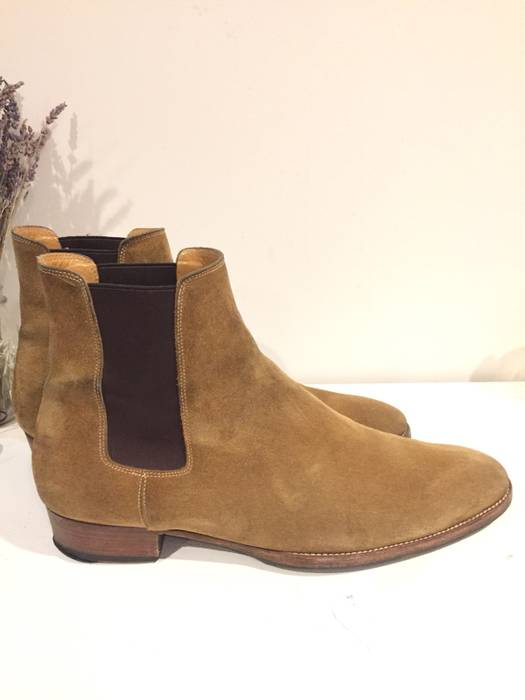Saint Laurent Paris   LAST DROP  Tan Suede Wyatt 30 Chelsea Boots ... 2e2a4ada3660