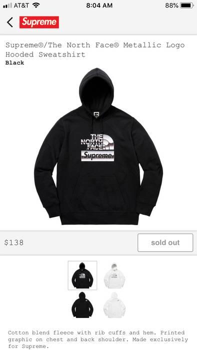 Supreme Supreme X North Face Metallic Logo Hooded Sweatshirt Black