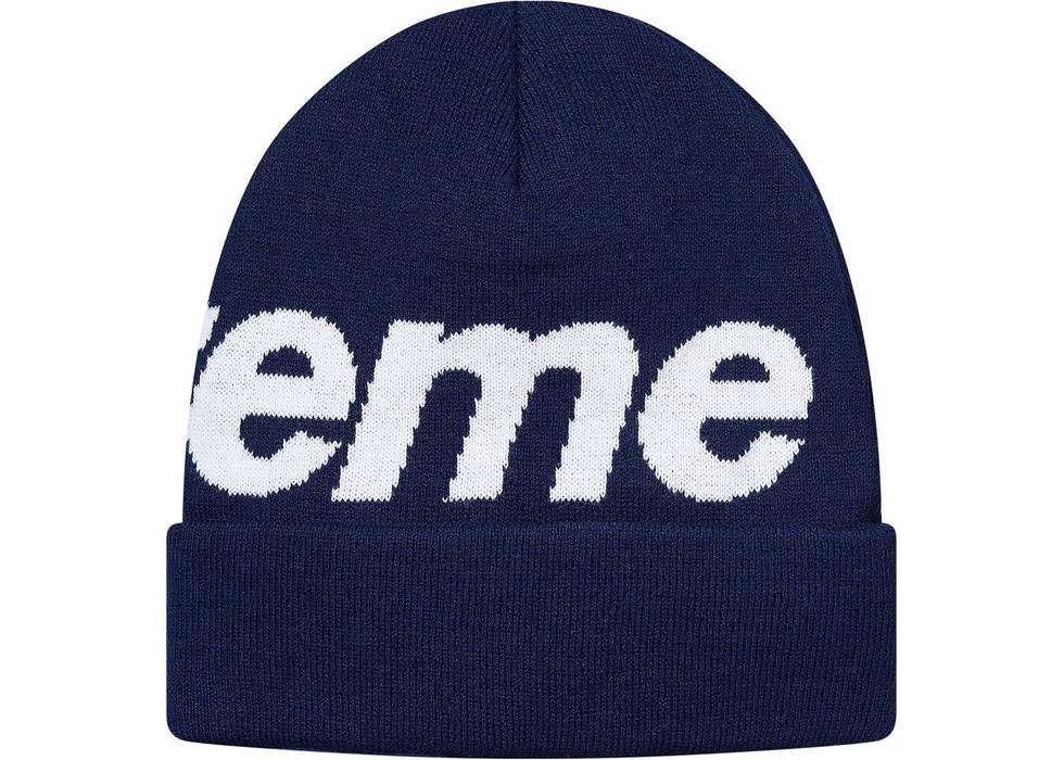 Supreme Hysteric Glamour hat   Big Logo Beanie Navy Blue Size one ... 21c2c3244dd