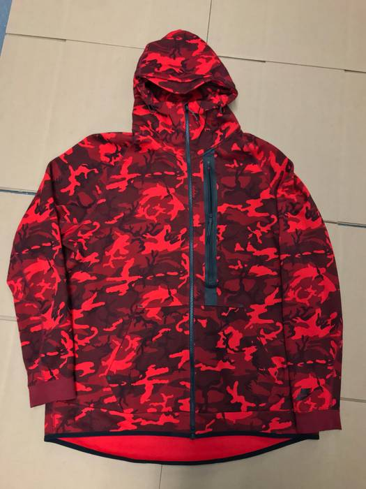 Nike NIKE TECH FLEECE WINDRUNNER FULL ZIP UP HOODIE RED CAMO SZ XL ... fbf71a28f99b
