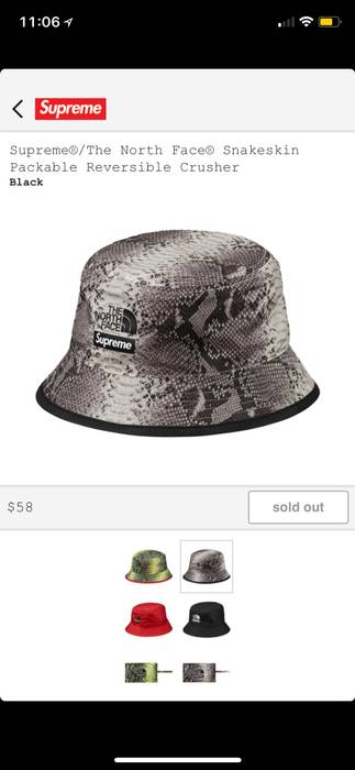 Supreme Supreme The North Face Snakeskin Reversible Crusher Hat Size ONE  SIZE 4d03611fd04