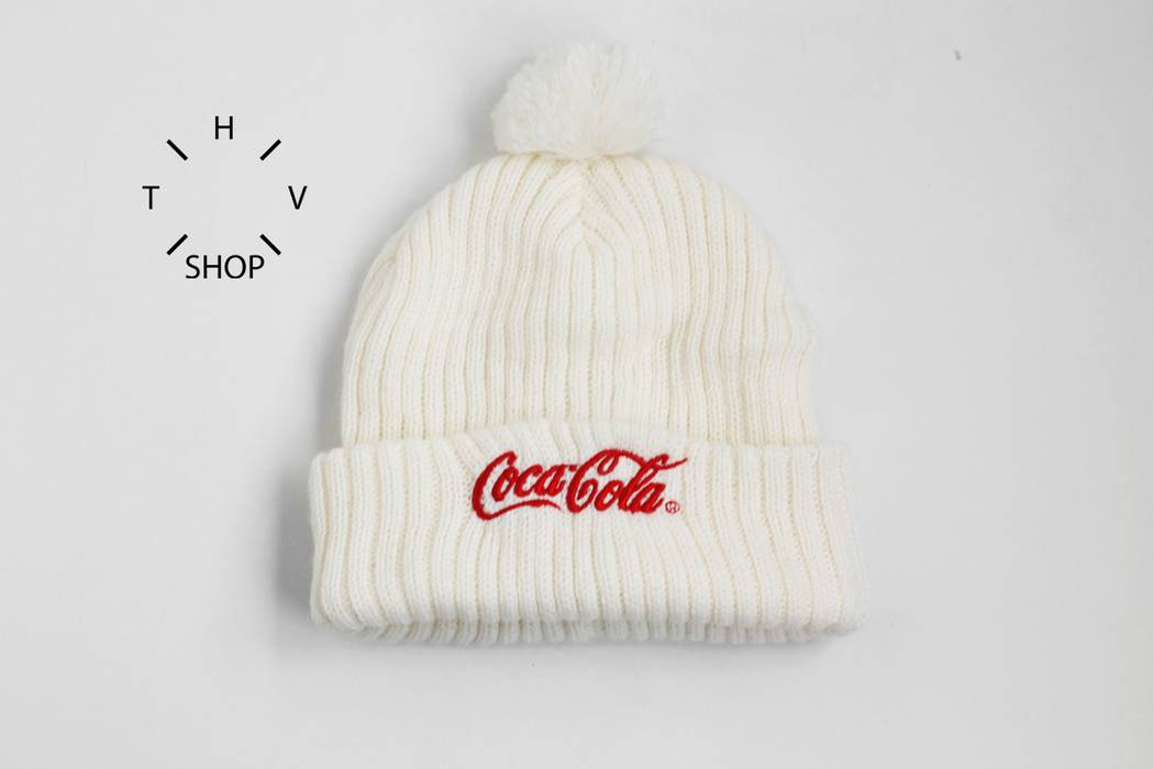 Coca Cola Coke beanie knit hat cap pom winter outdoor white red ... 7fd15805b110