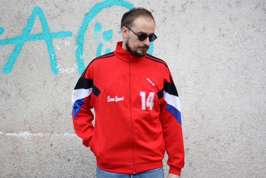 1a75c90413ac Adidas Originals track top vintage 80s trefoil red tracksuit sports ...