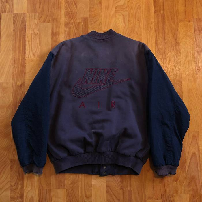 55a21a4c0395 Nike VTG 90s Nike AIR Embroidered Big Logo Distressed Quilt Lined Bomber  Jacket Blue Purple Rare