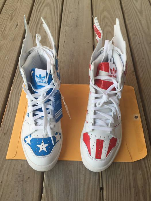 Adidas Adidas X Jeremy Scott Wings 2.0 American Flag Red Blue Size US 10.5   be8637bee