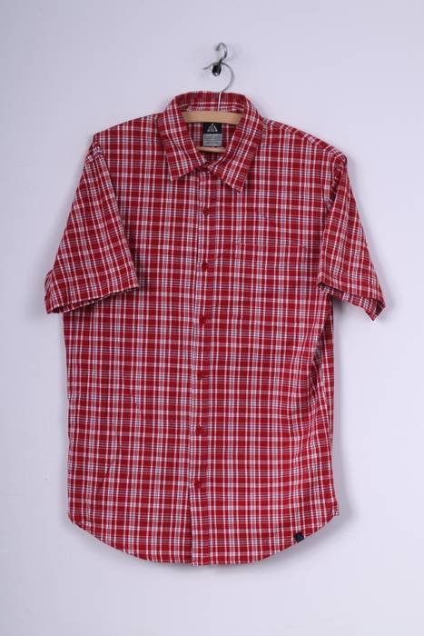 04ced006 Nike Acc Nike Mens S Casual Shirt Check Red Short Sleeve Cotton ...
