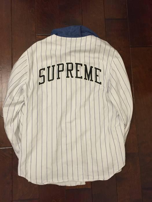 78eb29f5a46 Supreme Denim Hooded Baseball Shirt Size l - Sweatshirts   Hoodies ...