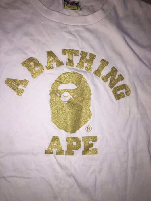 Bape Bape A Bathing Ape White And Gold Logo tee Size l - Short ... 0d74b5fd65ef
