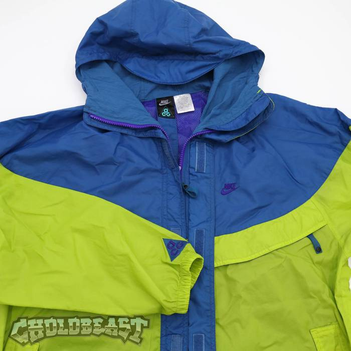 1eba5c2570 Nike Vintage Nike ACG Blue Purple Lime Green Wind Breaker Zip up Jacket  Parka Sz L