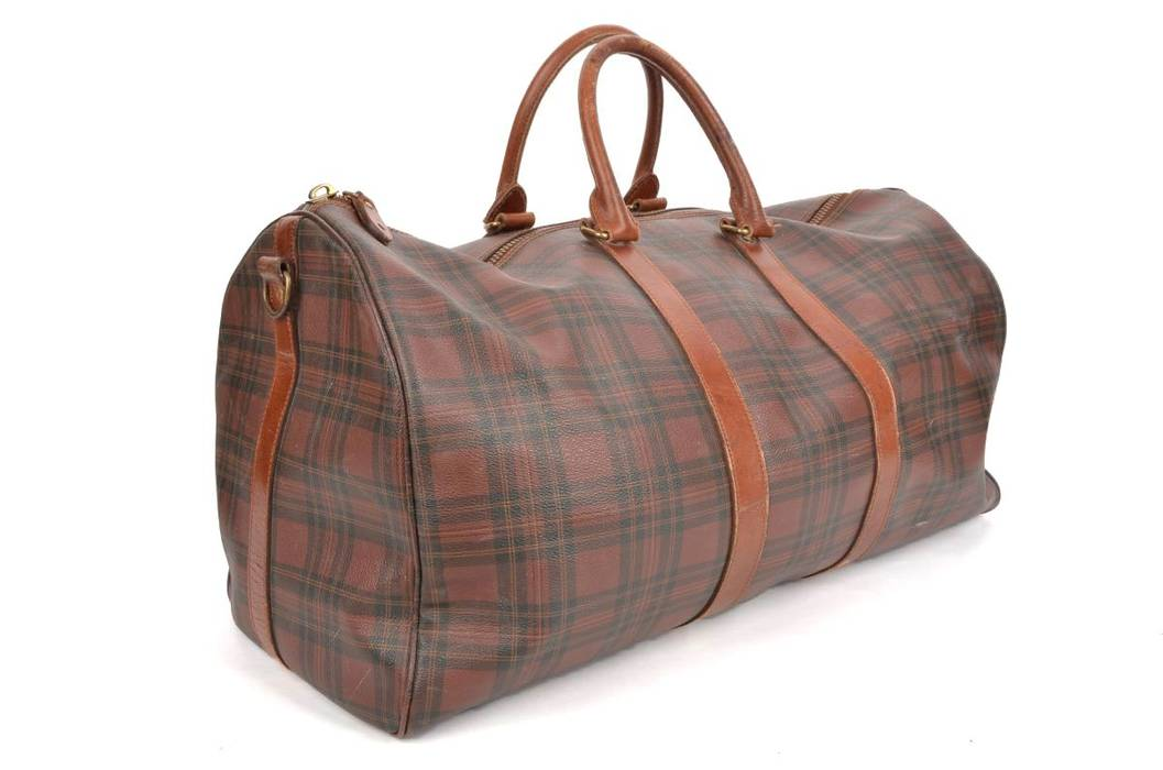 7b4f6e16eea7 ... czech polo ralph lauren polo ralph lauren amber brown tartan plaid duffel  weekender gym bag 24