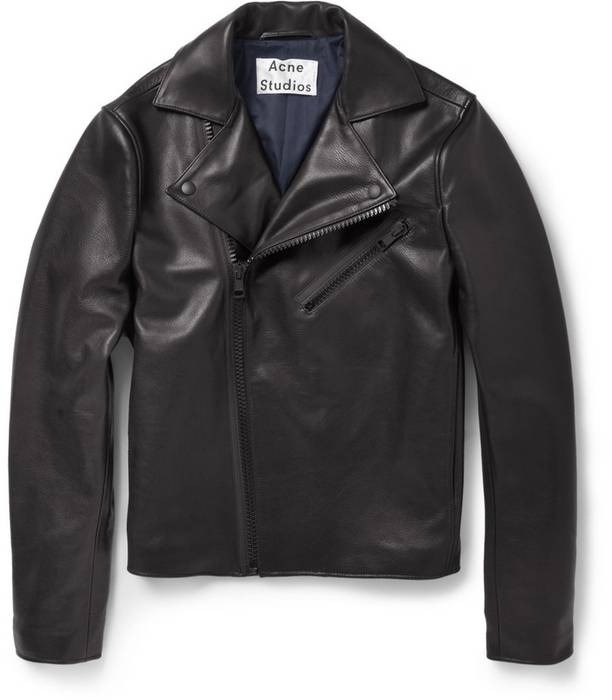 Acne Studios Acne Black Gibson Clean Leather Jacket Size l - Leather ... ed38ae80963