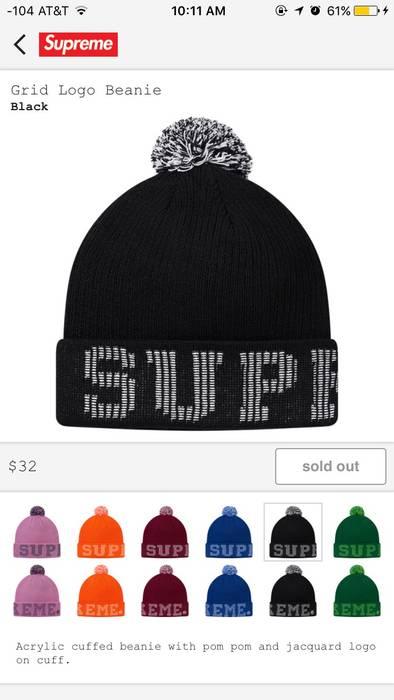 af2dde5eebf Supreme SUPREME GRID LOGO BEANIE-BLACK Size one size - Hats for Sale ...