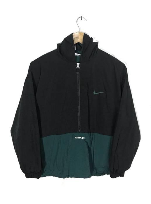 Nike Vintage Nike Anorak Swoosh Big Logo Spellout Green  Black Color Half  Zipper Windbreaker Hoodies 0420fd16d